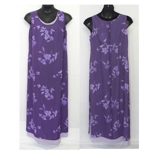 Spiegel | Floral Maxi Dress Purple Long 1X Chiffon